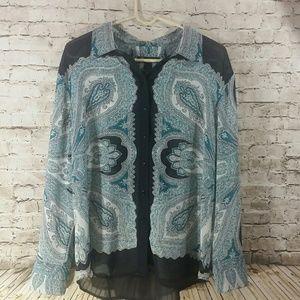INC brand sz 14 top long sleeve sheer light